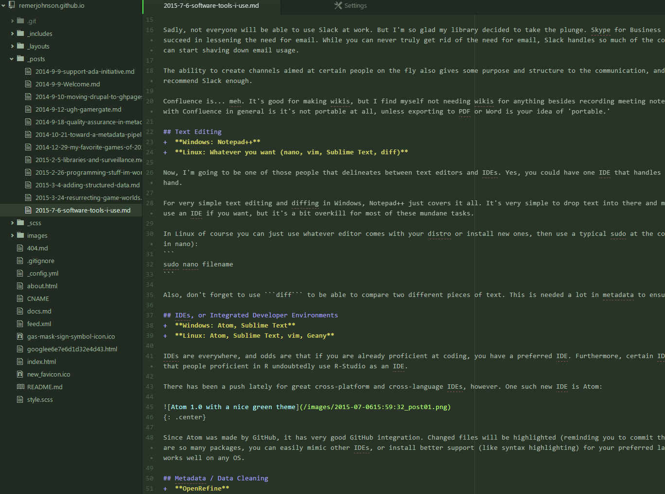 Atom 1.0 with a nice green theme